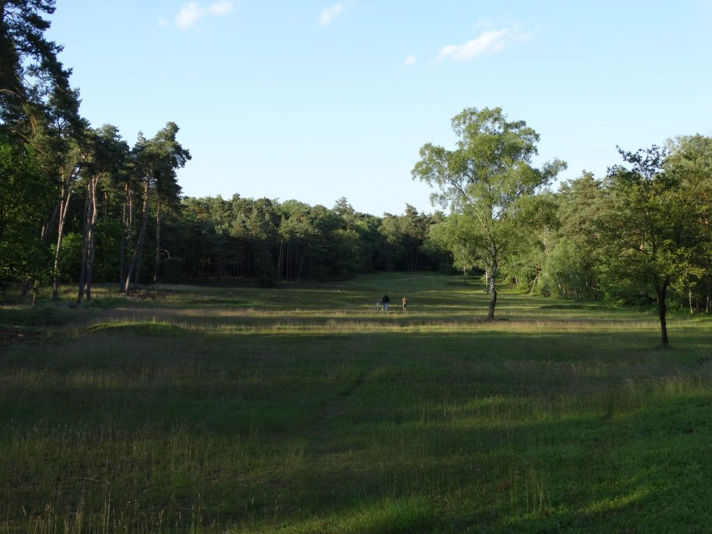 Wandelaars op een van de holes op golfbaan Landgoed Groenouwe. Links is een kleine afslagplaats te zien.